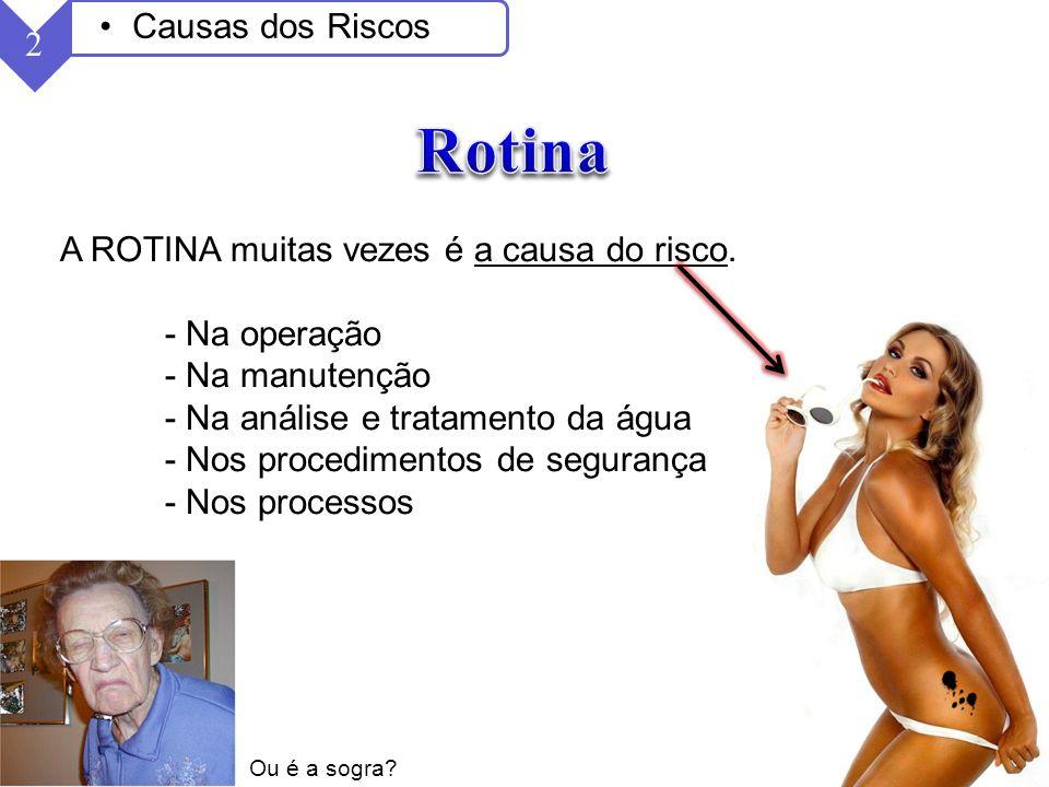 Rotina Causas dos Riscos 2 A ROTINA muitas vezes é a causa do risco.