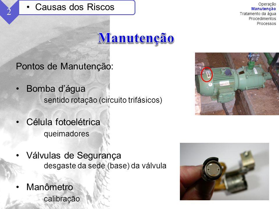 Manutenção Causas dos Riscos 2 Pontos de Manutenção: Bomba d'água