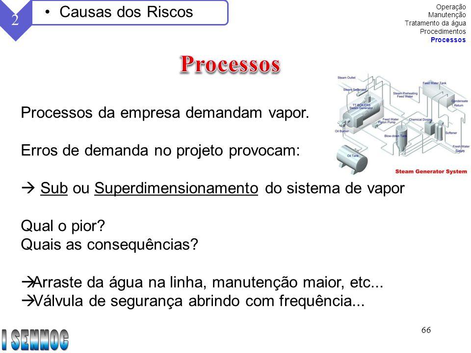 Processos Causas dos Riscos 2 Processos da empresa demandam vapor.