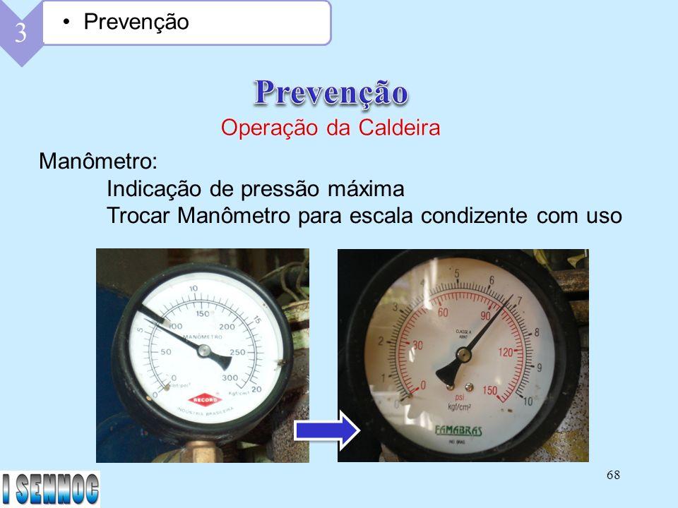 Prevenção 3 Prevenção Operação da Caldeira Manômetro: