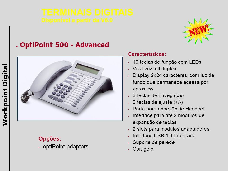 TERMINAIS DIGITAIS OptiPoint 500 - Advanced Workpoint Digital