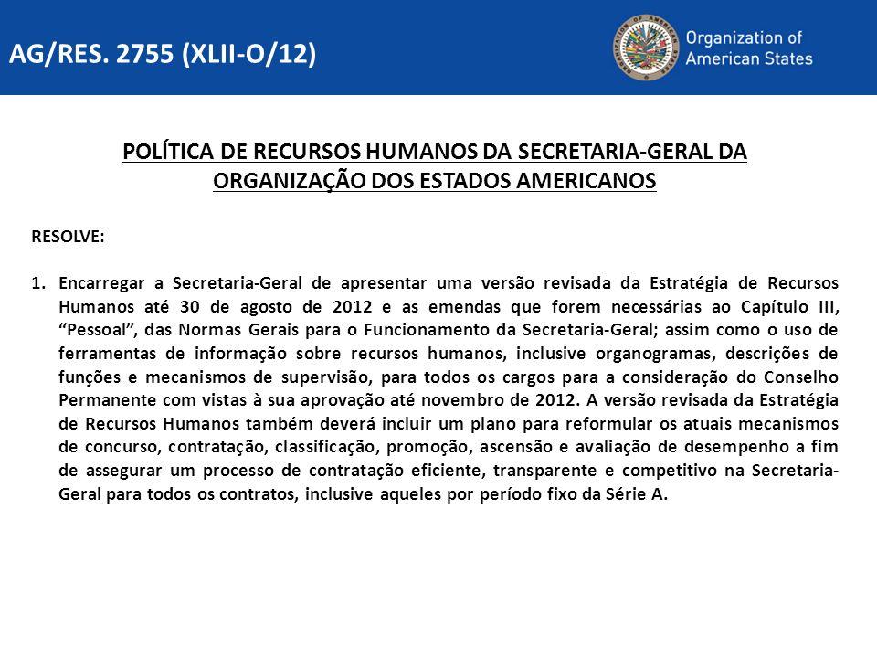 AG/RES. 2755 (XLII-O/12) POLÍTICA DE RECURSOS HUMANOS DA SECRETARIA-GERAL DA. ORGANIZAÇÃO DOS ESTADOS AMERICANOS.
