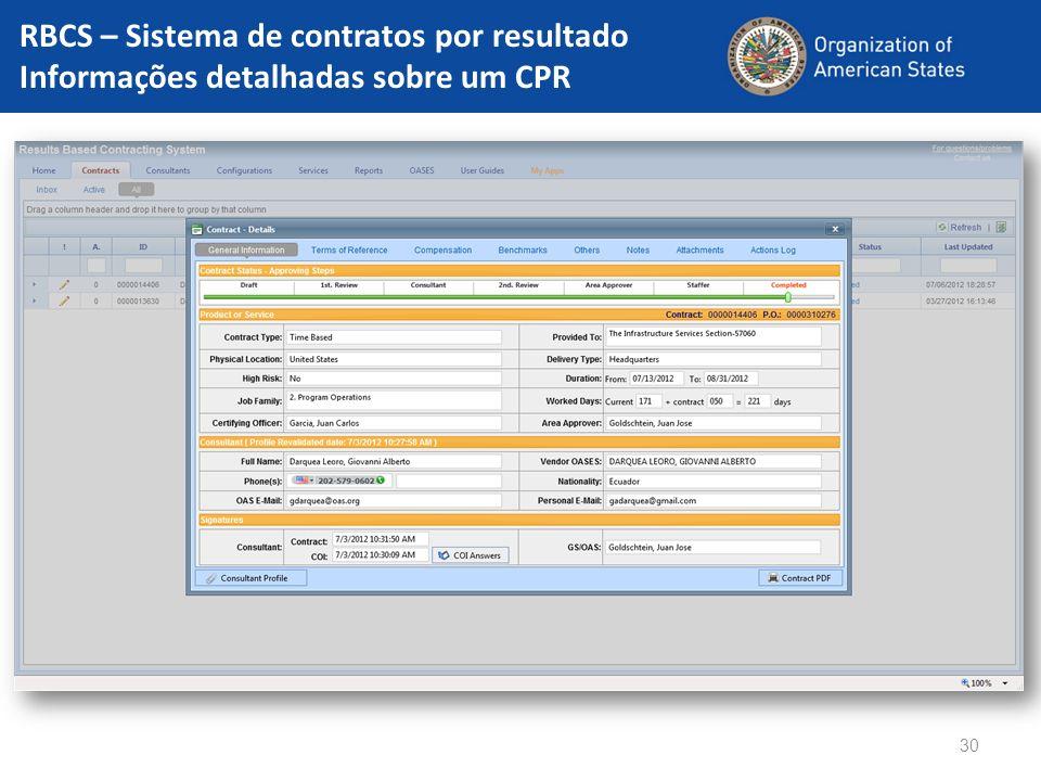 RBCS – Sistema de contratos por resultado