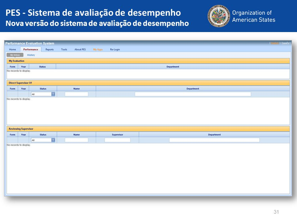 PES - Sistema de avaliação de desempenho