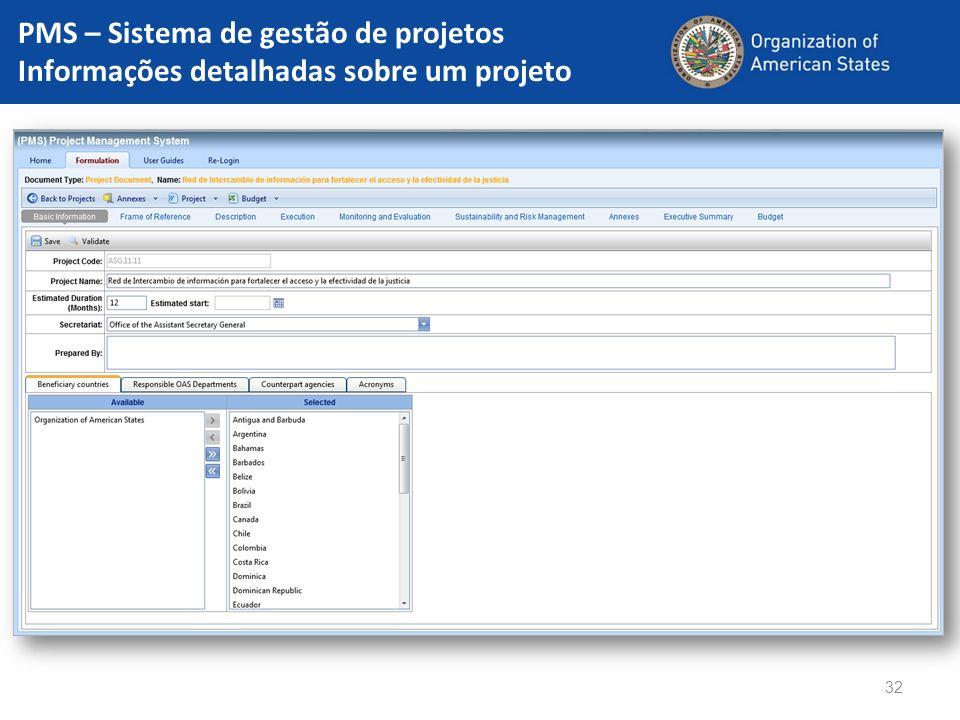 PMS – Sistema de gestão de projetos