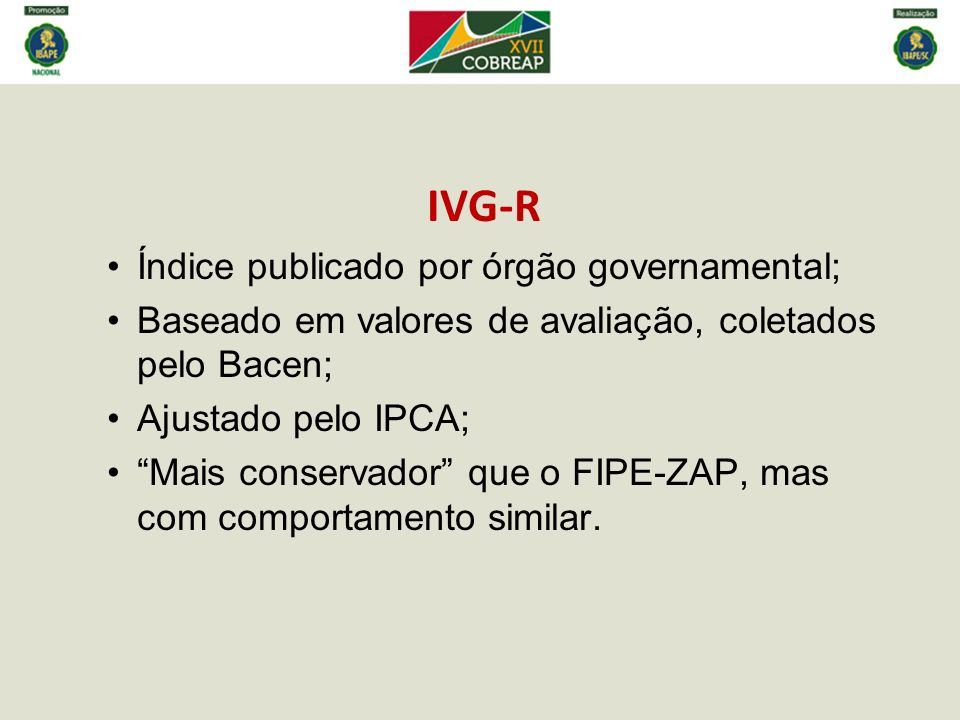IVG-R Índice publicado por órgão governamental;