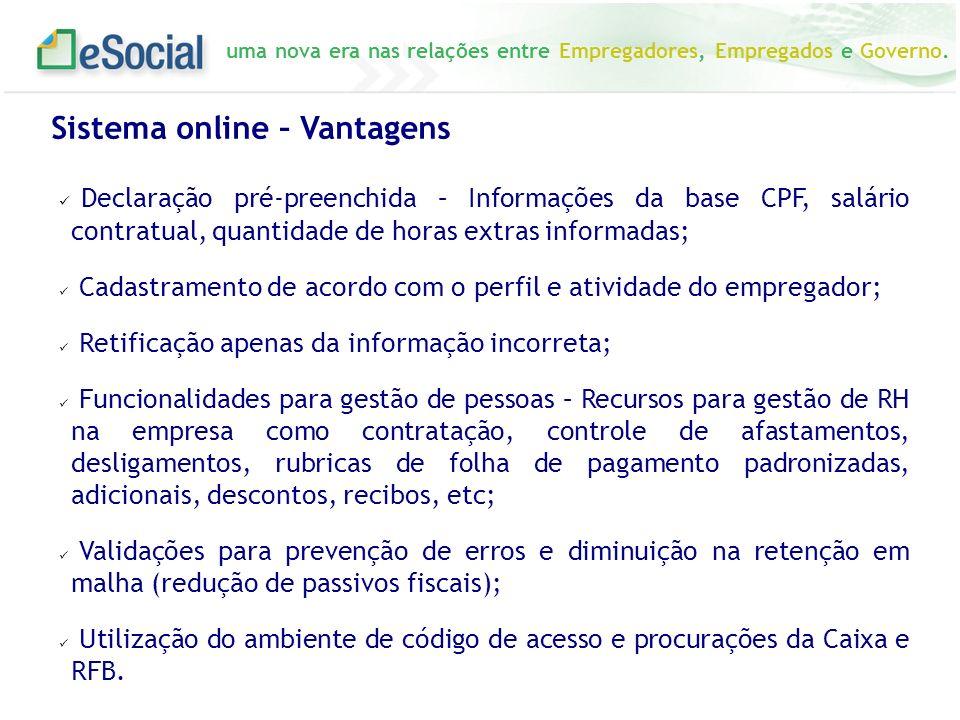 Sistema online – Vantagens