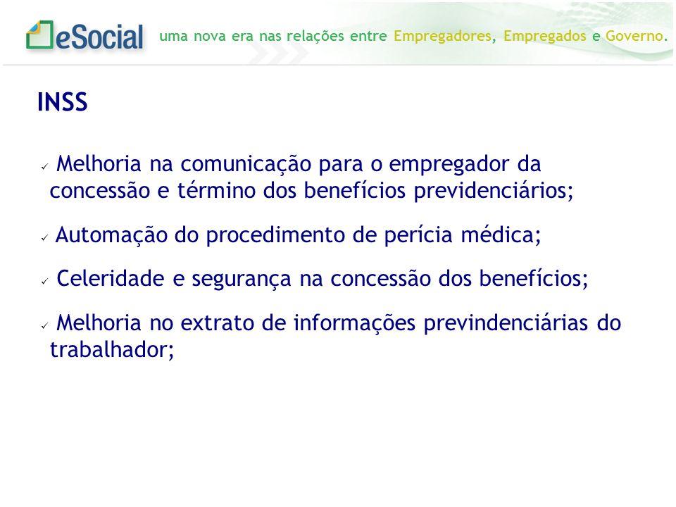 INSS Melhoria na comunicação para o empregador da concessão e término dos benefícios previdenciários;