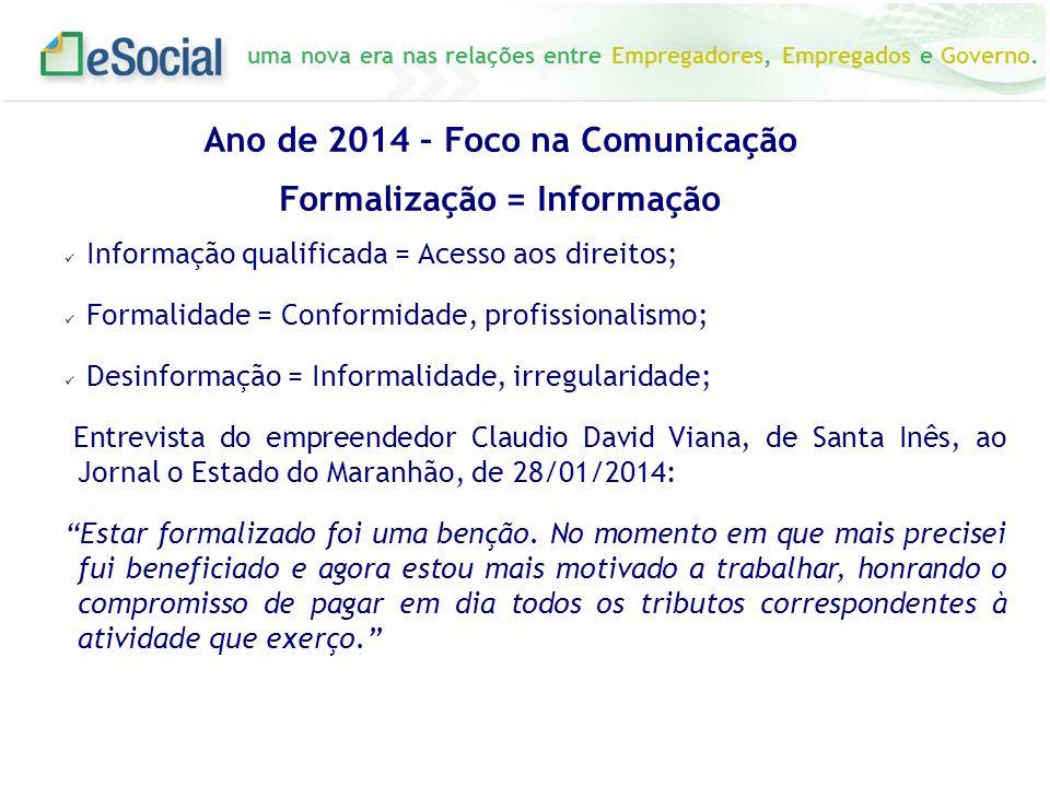 Ano de 2014 – Foco na Comunicação Formalização = Informação