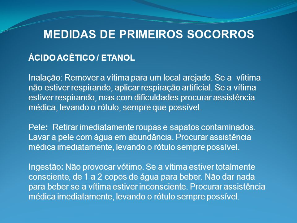 MEDIDAS DE PRIMEIROS SOCORROS