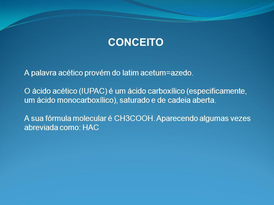 CONCEITO A palavra acético provém do latim acetum=azedo.