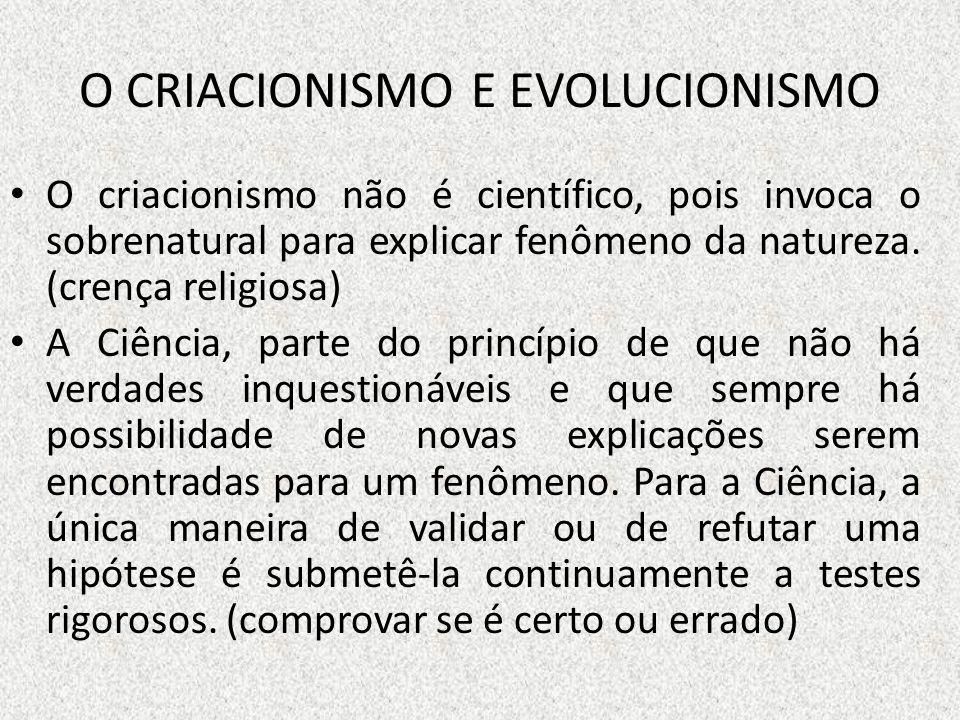 O CRIACIONISMO E EVOLUCIONISMO