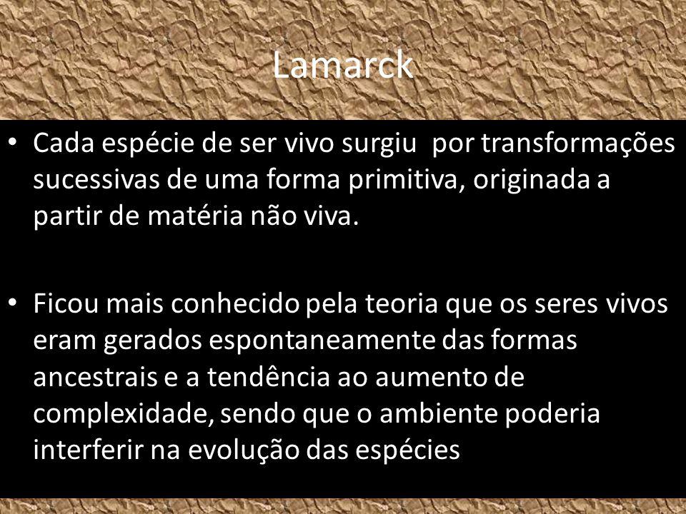 Lamarck Cada espécie de ser vivo surgiu por transformações sucessivas de uma forma primitiva, originada a partir de matéria não viva.