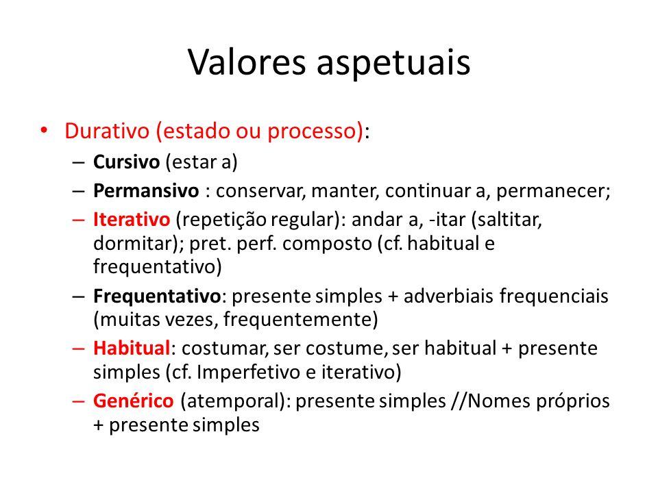 Valores aspetuais Durativo (estado ou processo): Cursivo (estar a)