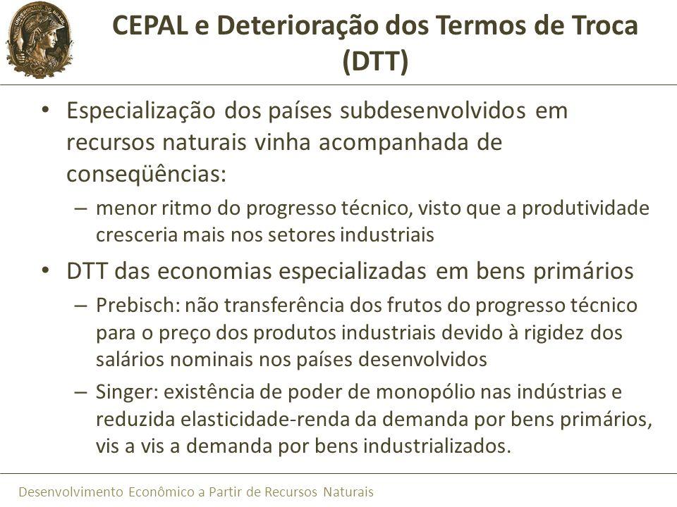 CEPAL e Deterioração dos Termos de Troca (DTT)