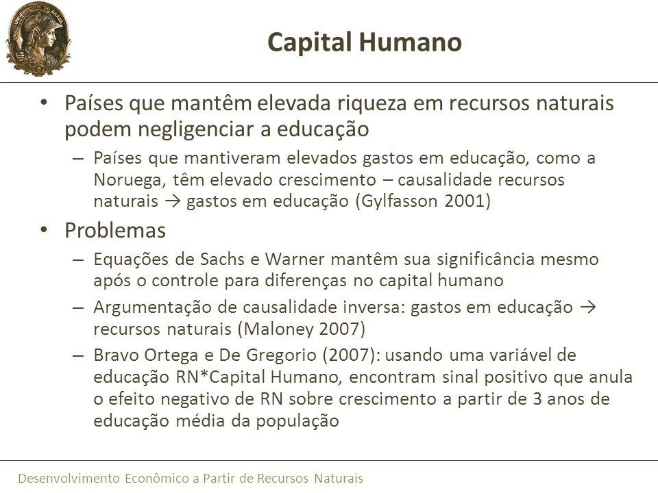Capital Humano Países que mantêm elevada riqueza em recursos naturais podem negligenciar a educação.