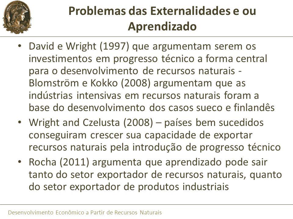Problemas das Externalidades e ou Aprendizado
