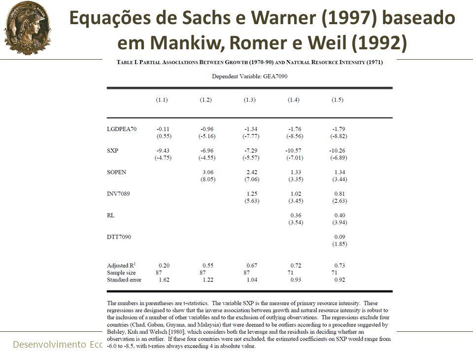 Equações de Sachs e Warner (1997) baseado em Mankiw, Romer e Weil (1992)