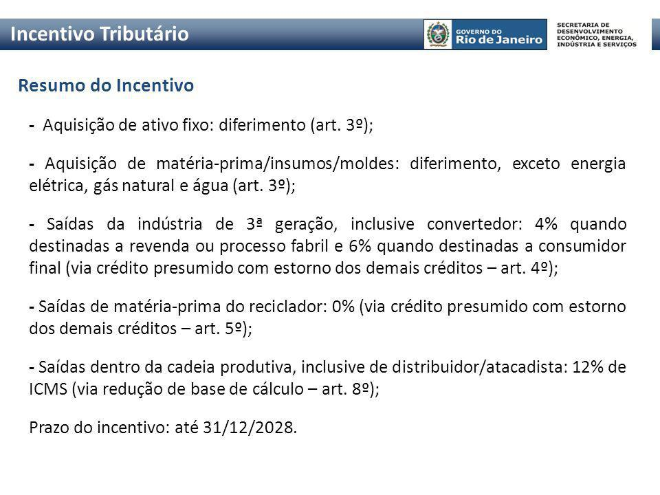 Incentivo Tributário Resumo do Incentivo