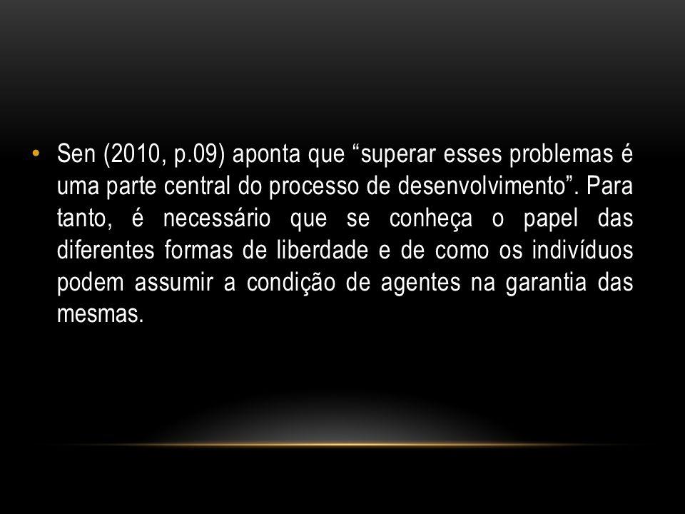 Sen (2010, p.09) aponta que superar esses problemas é uma parte central do processo de desenvolvimento .