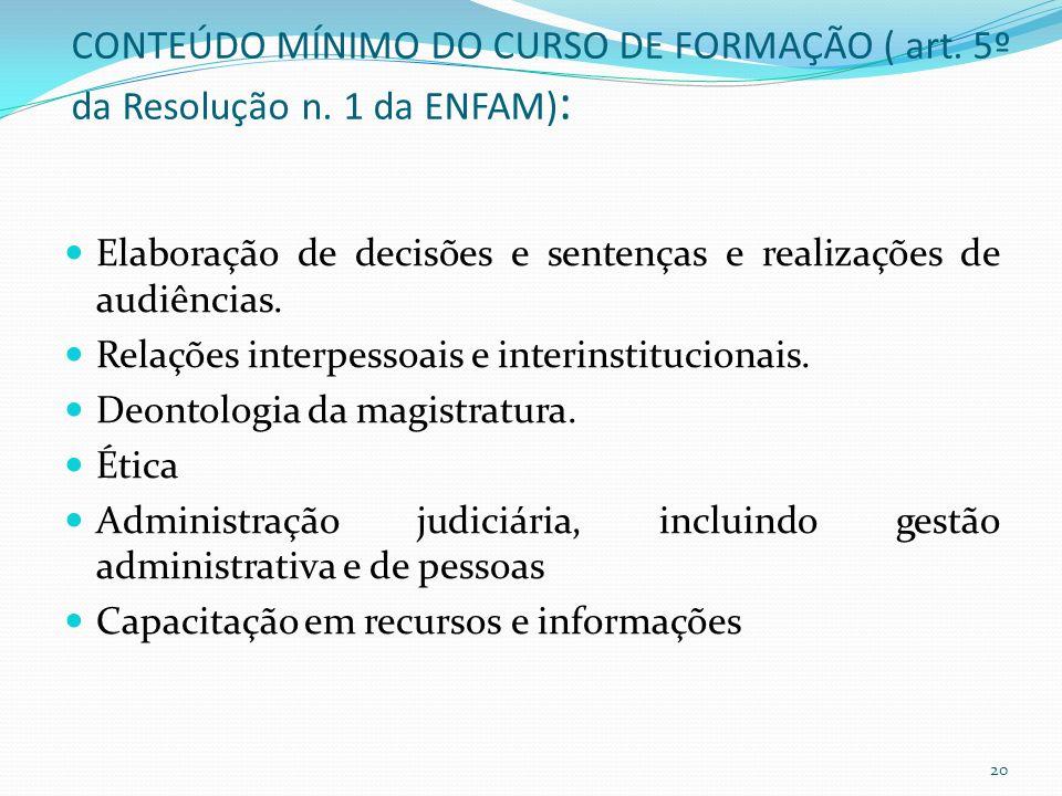 CONTEÚDO MÍNIMO DO CURSO DE FORMAÇÃO ( art. 5º da Resolução n