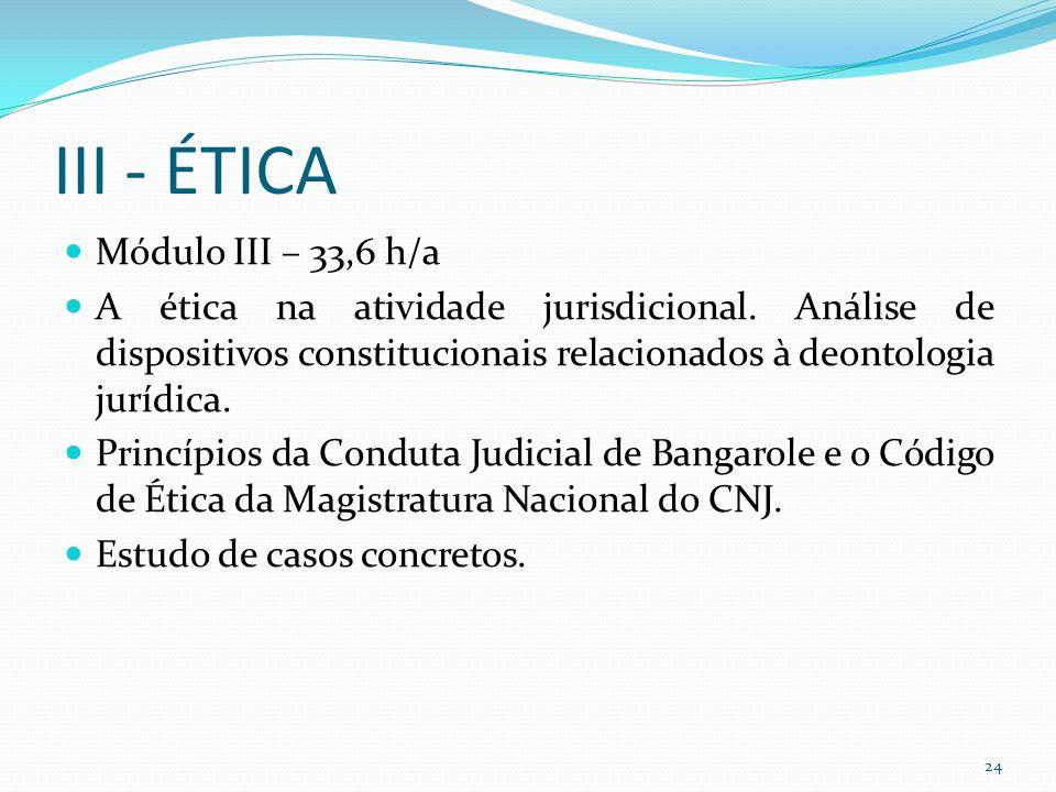 III - ÉTICA Módulo III – 33,6 h/a