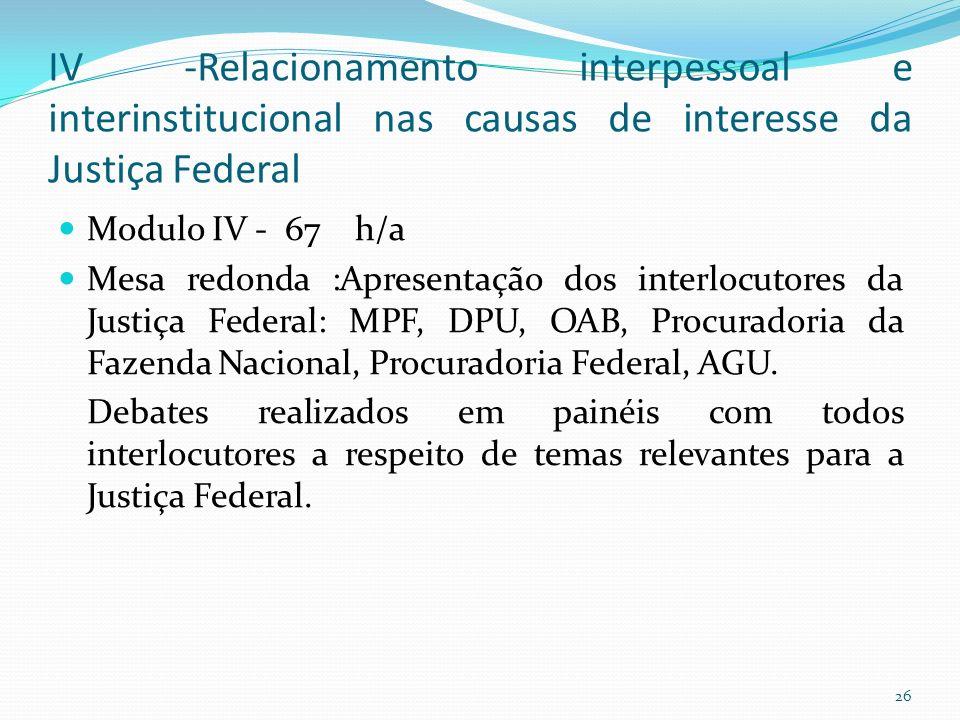 IV -Relacionamento interpessoal e interinstitucional nas causas de interesse da Justiça Federal