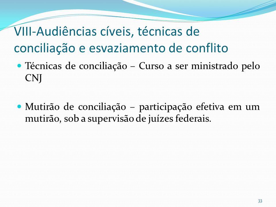 VIII-Audiências cíveis, técnicas de conciliação e esvaziamento de conflito
