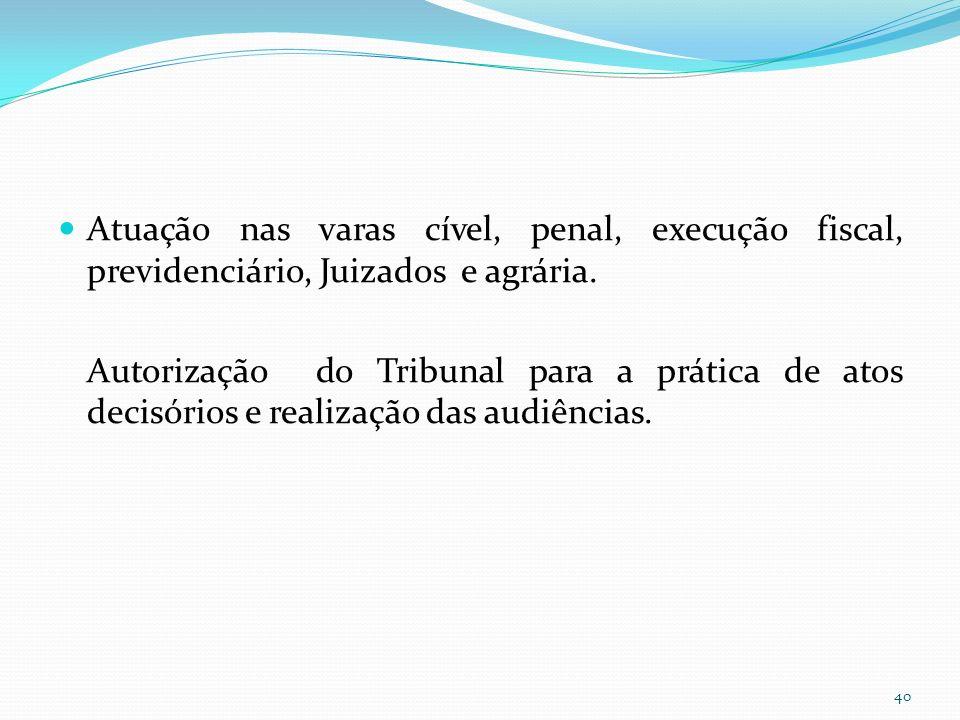 Atuação nas varas cível, penal, execução fiscal, previdenciário, Juizados e agrária.