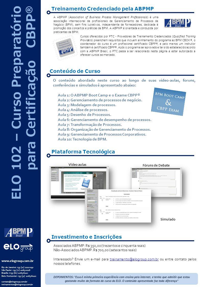 ELO 102 – Curso Preparatório para Certificação CBPP®