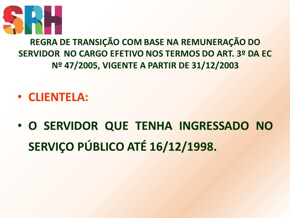 O SERVIDOR QUE TENHA INGRESSADO NO SERVIÇO PÚBLICO ATÉ 16/12/1998.