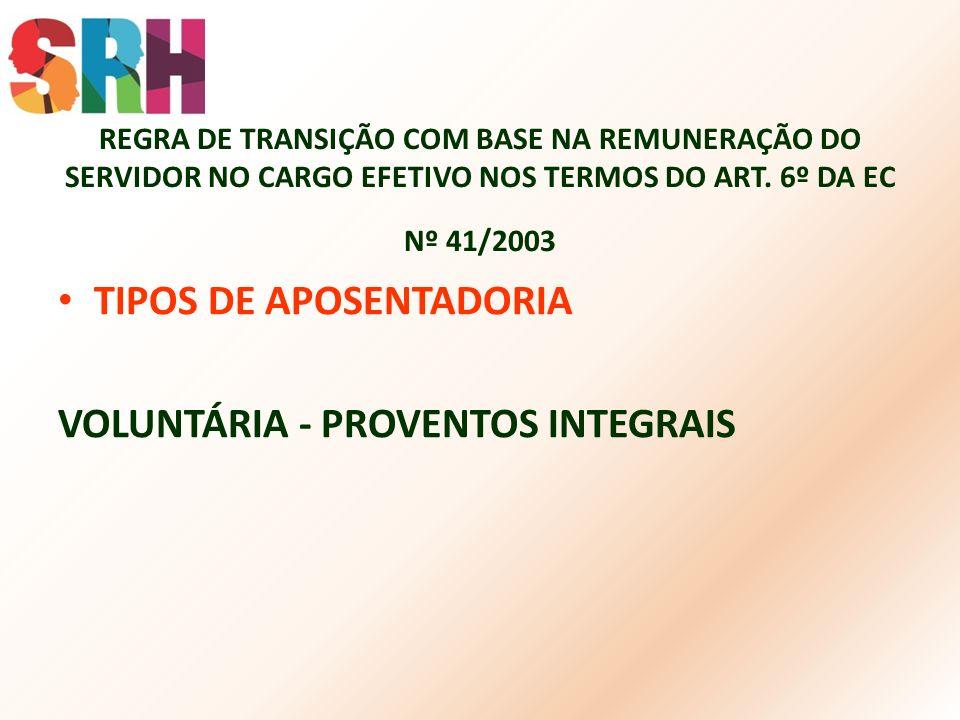 TIPOS DE APOSENTADORIA VOLUNTÁRIA - PROVENTOS INTEGRAIS