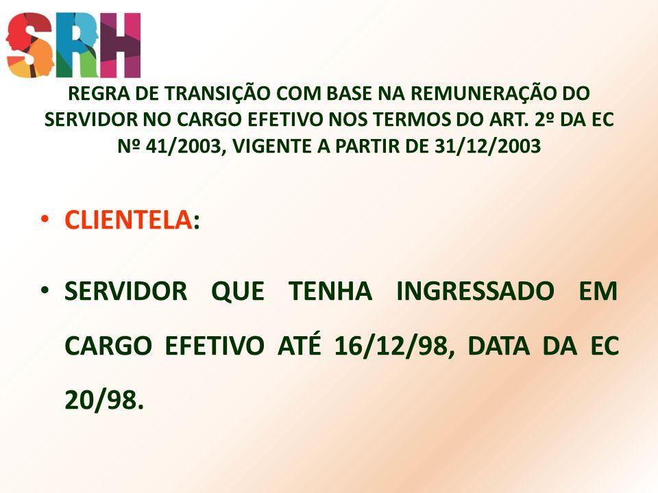 REGRA DE TRANSIÇÃO COM BASE NA REMUNERAÇÃO DO SERVIDOR NO CARGO EFETIVO NOS TERMOS DO ART. 2º DA EC Nº 41/2003, VIGENTE A PARTIR DE 31/12/2003