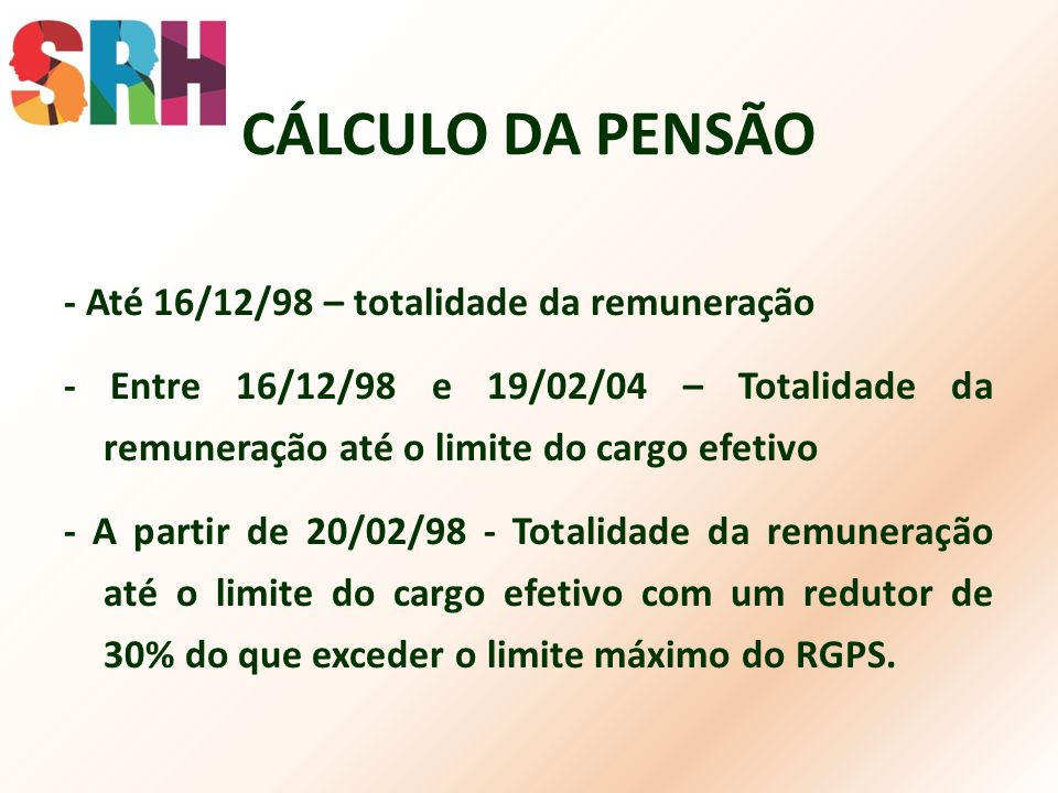 CÁLCULO DA PENSÃO - Até 16/12/98 – totalidade da remuneração