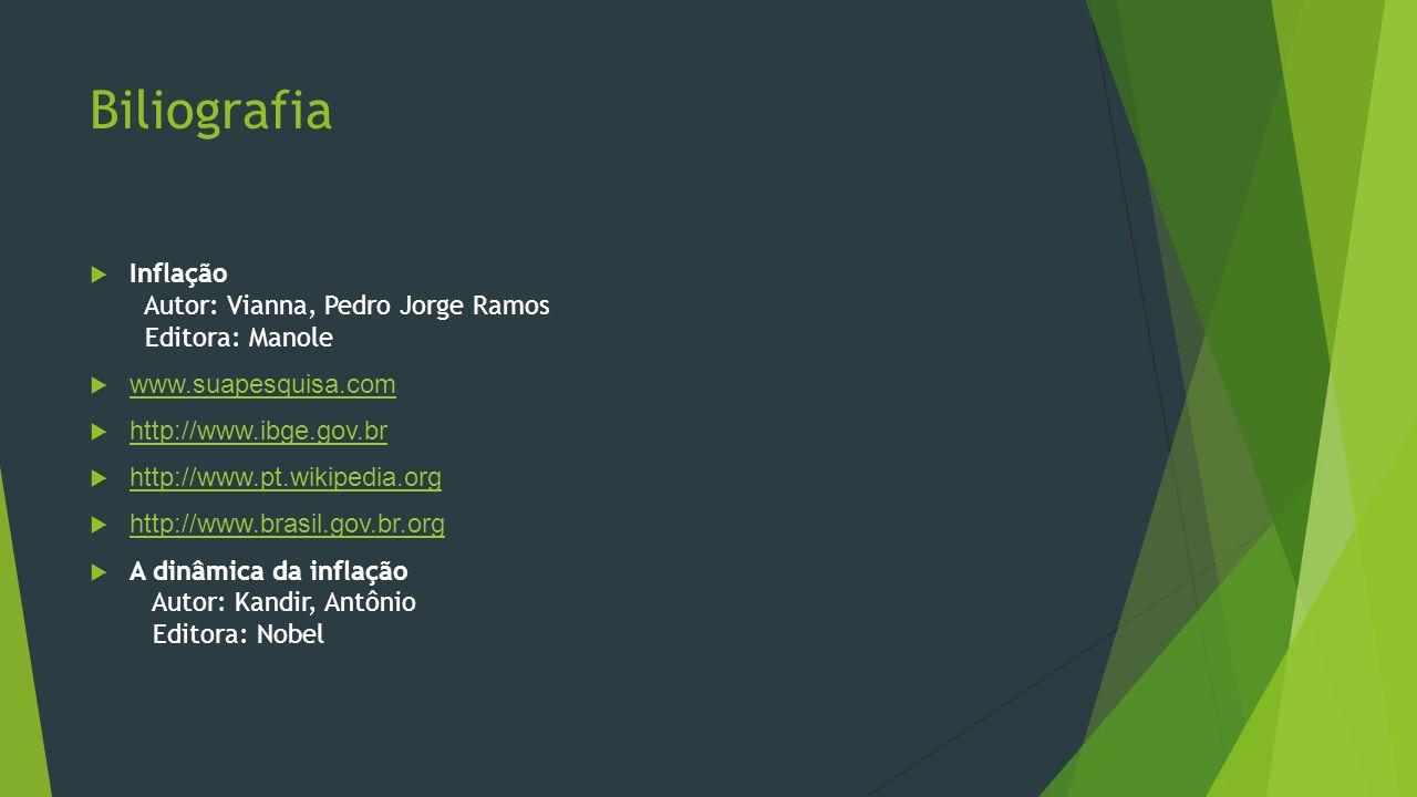 Biliografia Inflação Autor: Vianna, Pedro Jorge Ramos Editora: Manole