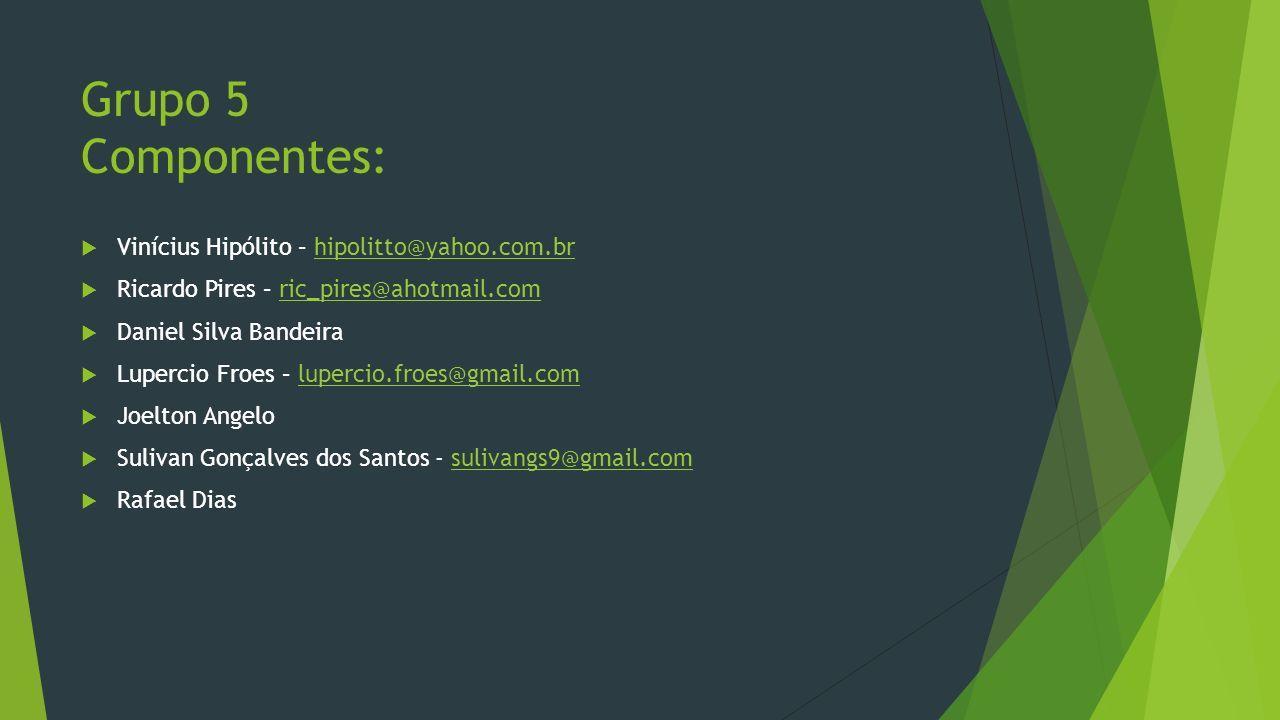 Grupo 5 Componentes: Vinícius Hipólito – hipolitto@yahoo.com.br