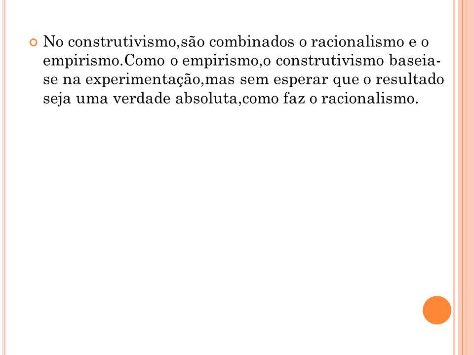 No construtivismo,são combinados o racionalismo e o empirismo