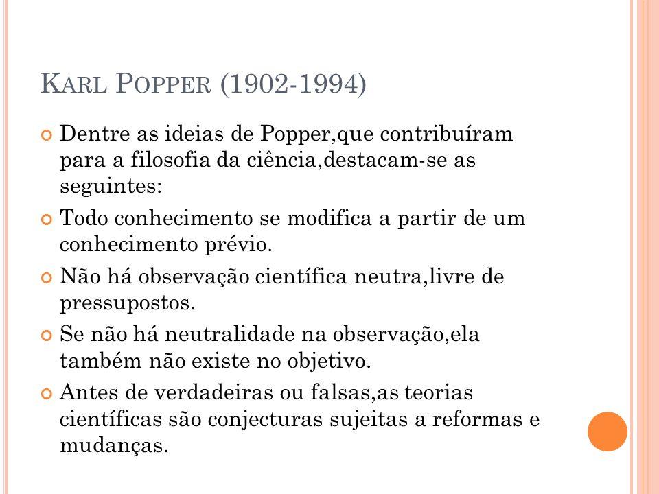 Karl Popper (1902-1994) Dentre as ideias de Popper,que contribuíram para a filosofia da ciência,destacam-se as seguintes: