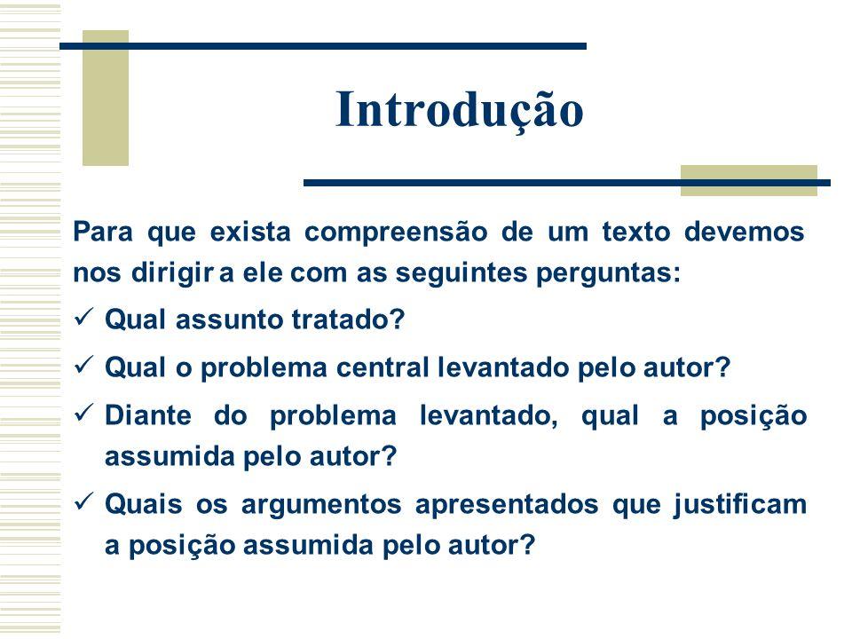 Introdução Para que exista compreensão de um texto devemos nos dirigir a ele com as seguintes perguntas:
