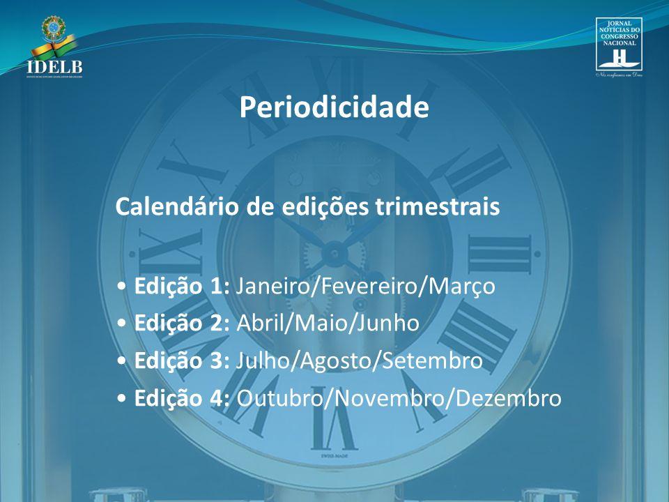 Periodicidade Calendário de edições trimestrais