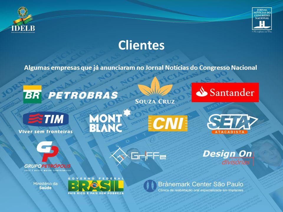 Clientes Algumas empresas que já anunciaram no Jornal Notícias do Congresso Nacional