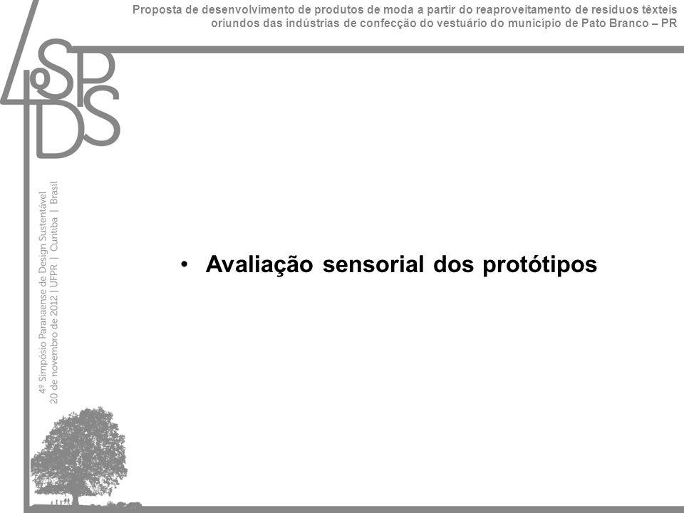 Avaliação sensorial dos protótipos