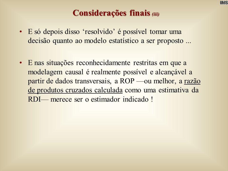 Considerações finais (iii)