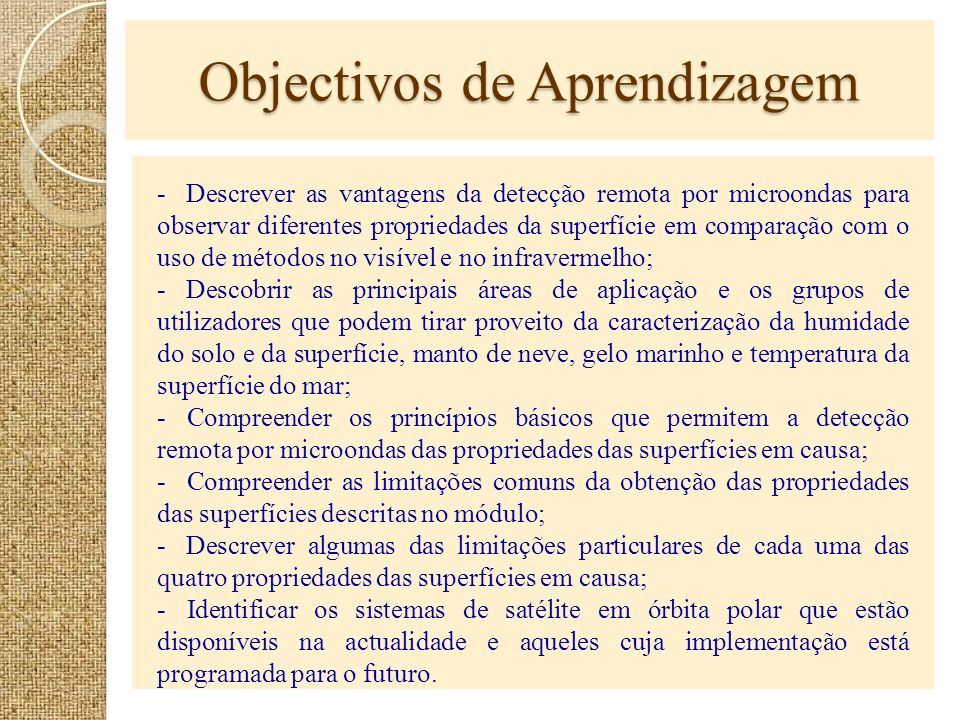 Objectivos de Aprendizagem