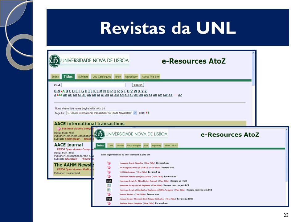 Revistas da UNL