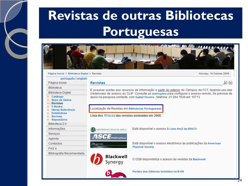 Revistas de outras Bibliotecas Portuguesas