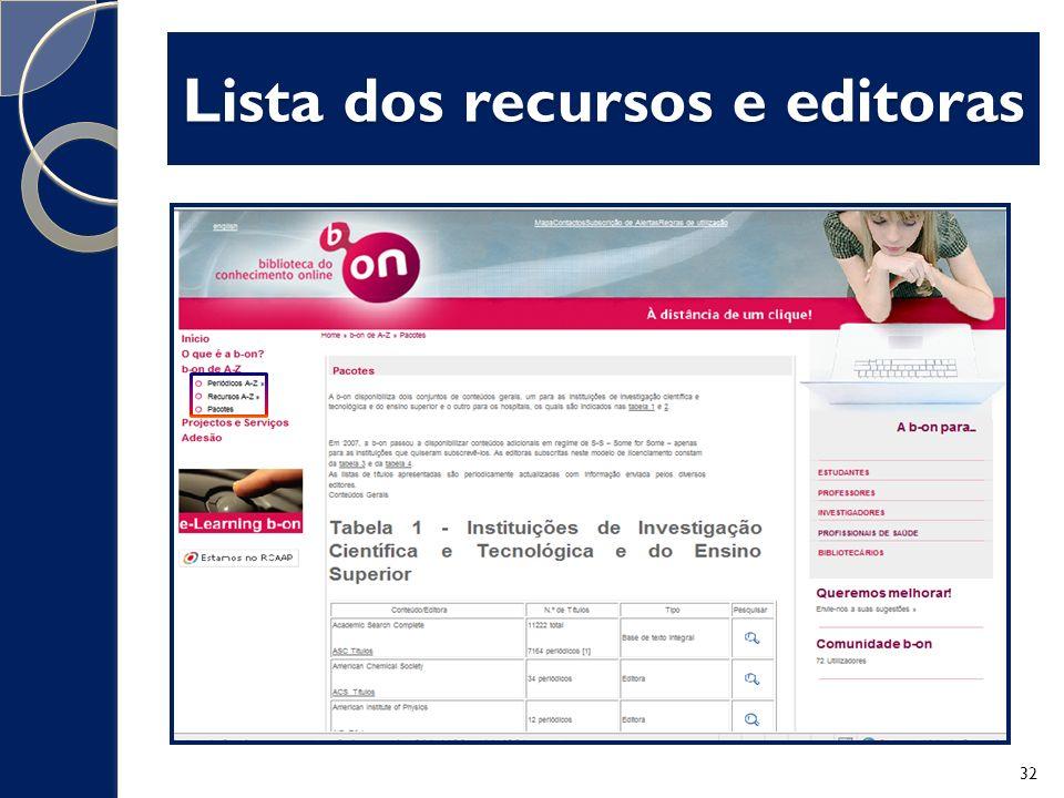 Lista dos recursos e editoras
