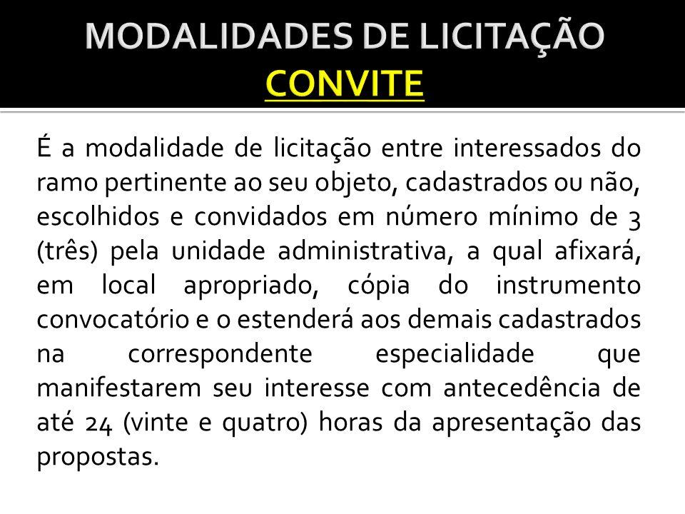 MODALIDADES DE LICITAÇÃO CONVITE