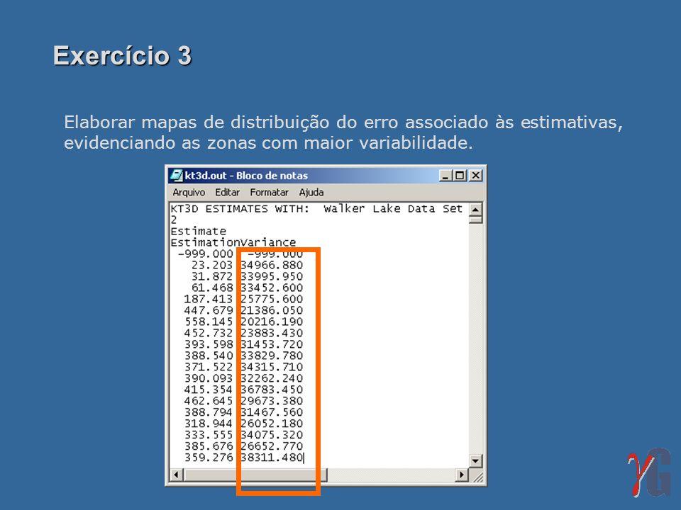 Exercício 3 Elaborar mapas de distribuição do erro associado às estimativas, evidenciando as zonas com maior variabilidade.