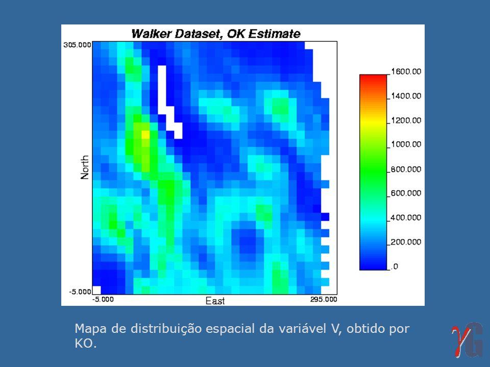 Mapa de distribuição espacial da variável V, obtido por KO.